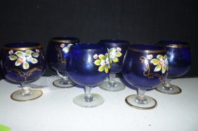 COBALT BLUE WINE STEMS WITH HAND ENAMELED FLOWERS AND G