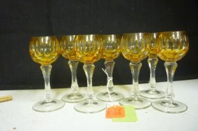 CORDIALS: SET OF 7 AMER CUT TO CLEAR STEMS