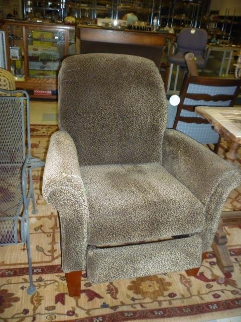 RECLINER CHAIR: LEOPARD PRINT, WOOD FEET. EXCELLENT CON
