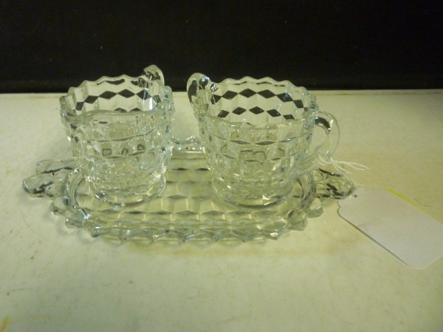 CREAM AND SUGAR WITH TRAY: DEPRESSION GLASS