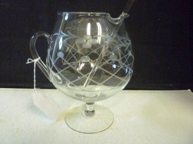 BEVERAGE PITCHER: ETCHED GLASS WITH STIRRER FLORAL