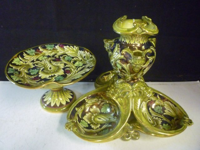 COMPOTE AND DECORATIVE DISH: ITALIAN, HAND PAINTED