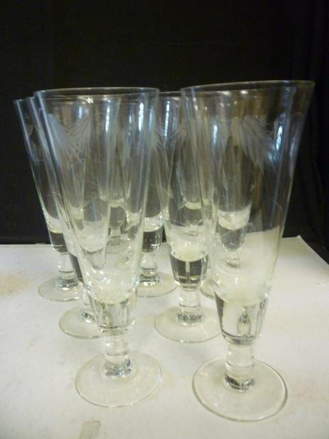 TALL BEVERAGE GLASSES: ETCHED WHEAT DESIGN, SET OF 9.