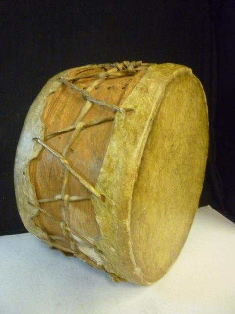 DOUBLE SIDED DRUM: HAND MADE OF CHEESE MOLD CRATE AND