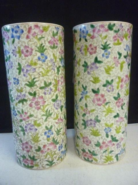 PAIR OF VASES: ASIAN STYLE HAND PAINTED FLORAL DESIGN,
