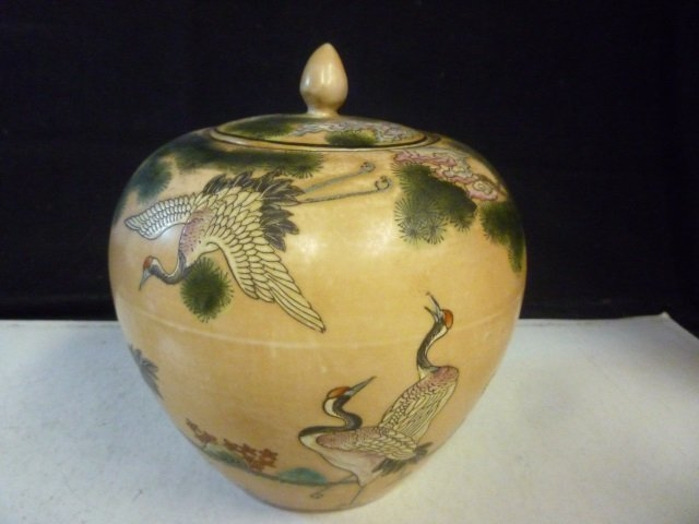 GINGER JAR: ASIAN STYLE WITH HAND PAINTED BIRDS AND