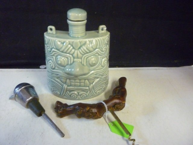 BAR ITEMS: FLASK / DECANTER,: ASIAN STYLE DRAGON WITH