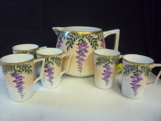 """PITCHER AND CUPS: HAND PAINTED NIPPON, PITCHER 6"""" TALL"""