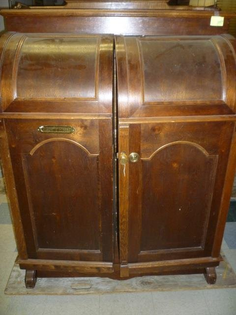 WOOTON DESK: ROUNDED FRONT CABINET DOORS WITH BRASS