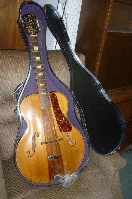 GUITAR: PATRICIAN BY HARMONY, ARCH TOP IN BLACK
