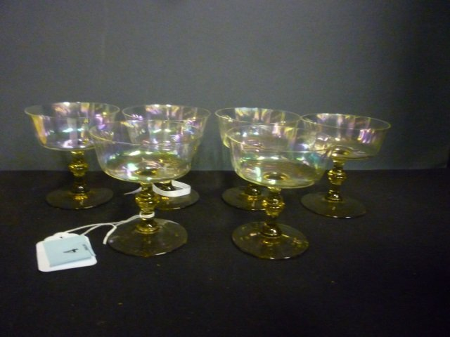 WINE STEMS: IRIDESCENT GLASS WITH GREEN GLASS STEMS, AP