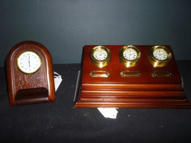 MODERN DESK CLOCKS: ONE WOODEN WITH 3 GOLD TONED CLOCKS