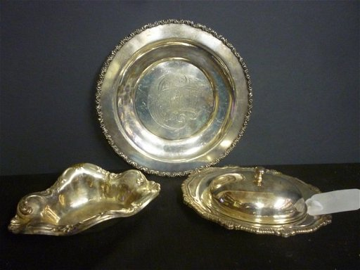 SILVER PLATED ITEMS: CAKE PLATE MARKED \