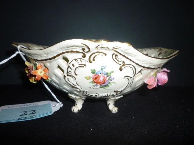 DRESDEN BOWL: VINTAGE, RETICULATED WITH MOLDED AND HAND