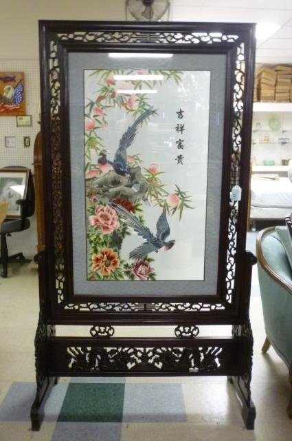 ASIAN BIRD MOTIF EMBROIDRY CARVED WOOD FRAME DETAILED S