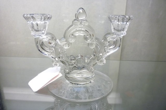 ELEGANT GLASS CANDLE HOLDER DOUBLE CANDLE HOLDER, BASE