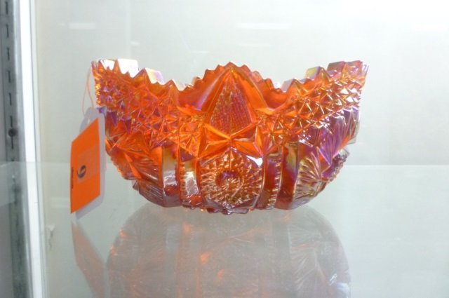 "RED CARNIVAL GLASS BOWL 4"" X  7 1/2"""