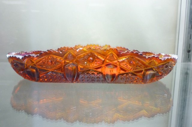 "AMBER CARNIVAL GLASS CELERY TRAY 10"" LONG, 4 1/2"" WIDE"