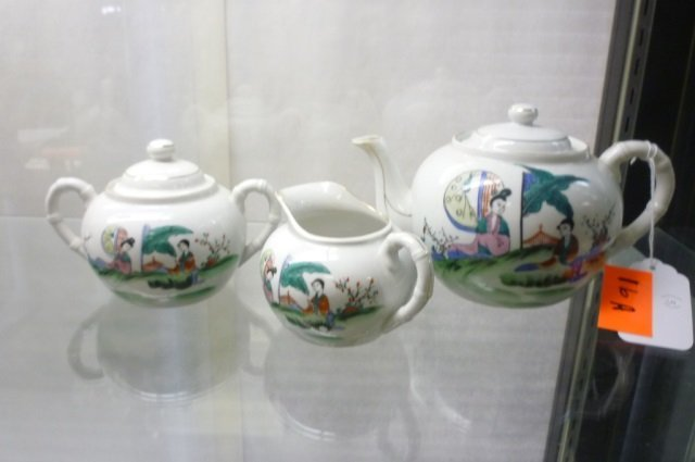 ASIAN 3 PIECE TEA SET, TEA POT, CREAM & SUGAR ASIAN