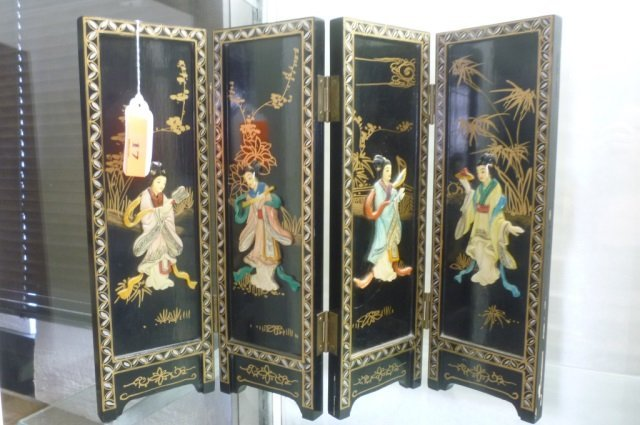 ASIAN TABLE TOP  FOLDING SCREEN BLACK LACQUER WITH