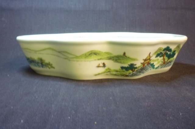 ASIAN PORCELAIN DISH GREEN MARKED W/ STAMP PORCELAIN