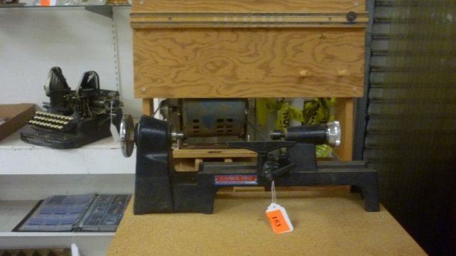 CARBA-TEC LATHE MODEL HM-1A ON STAND WITH 3-DRAWERS OF