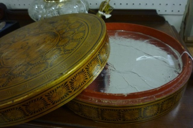 ASIAN SWEET-MEAT SERVER  TRAYS INSIDE GOLD TONE WITH - 3