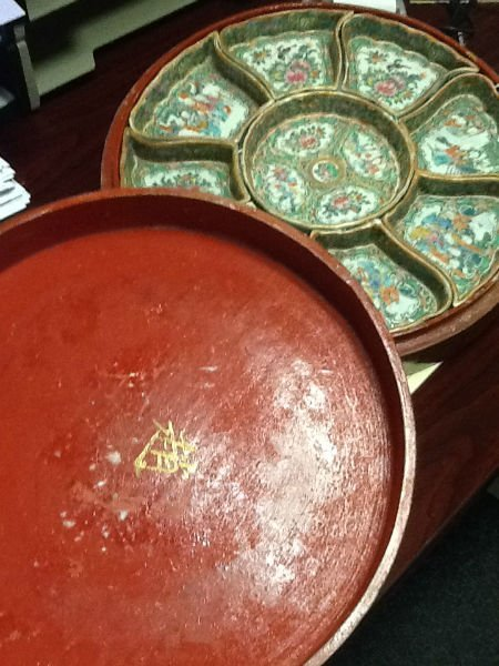 ASIAN SWEET-MEAT SERVER  TRAYS INSIDE GOLD TONE WITH - 5