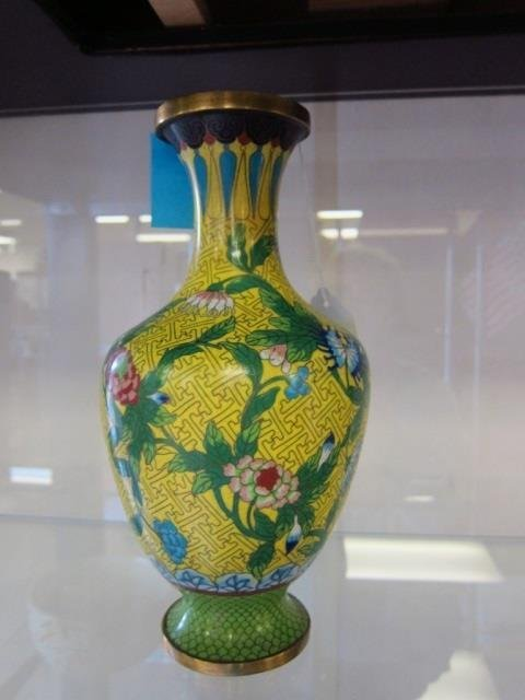 "CLOISONNE VASE 11"" VASE, YELLOW BACKGROUND WITH FLOWERS"