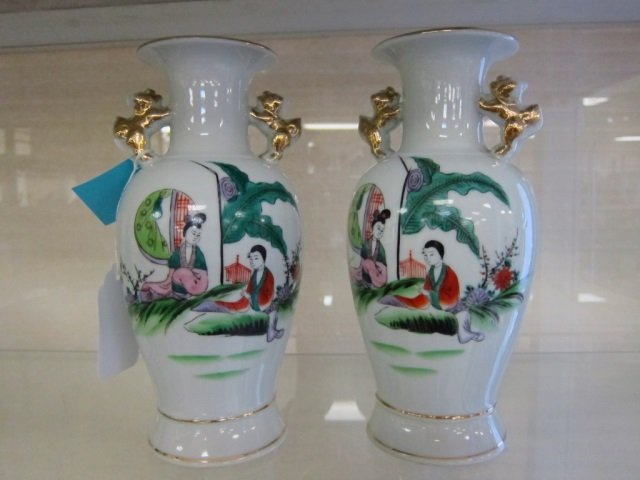 2 ORENTIAL MOTIF VASES PAIR WITH FOO DOG SHAPED