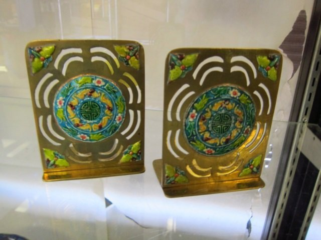 PAIR OF METAL AND ENAMEL BOOKENDS FOLDING METAL