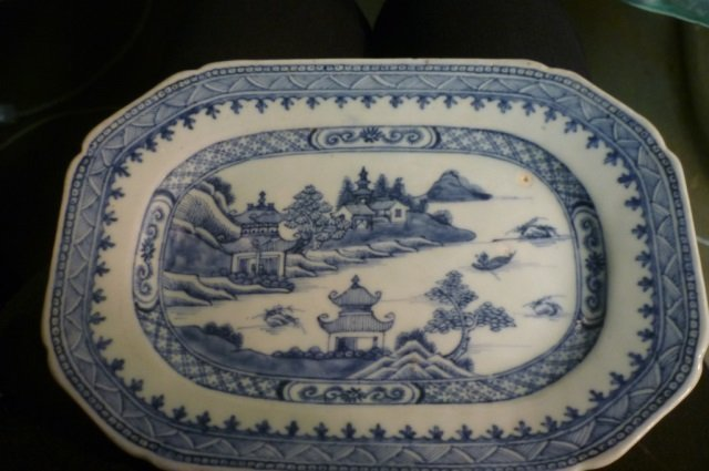 CHINESE PLATE PORCELAIN CHINESE BLUE & WHITE PORCELAIN