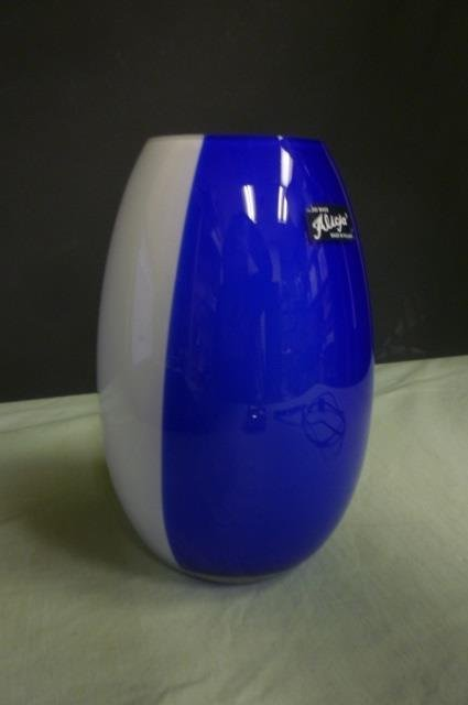 HAND MADE GLASS VASE. MADE IN POLAND BLUE AND WHITE AND