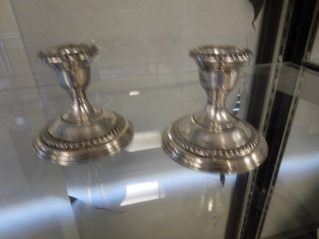 SILVER CANDLESTICK HOLDERS PAIR OF SILVER CANDLESTICK