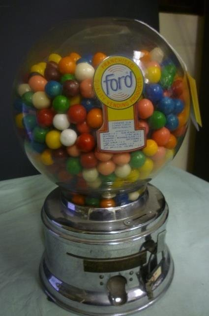 FORD GUMBALL MACHINE W/ ORIGINAL GUMBALLS OLD GUMBALL