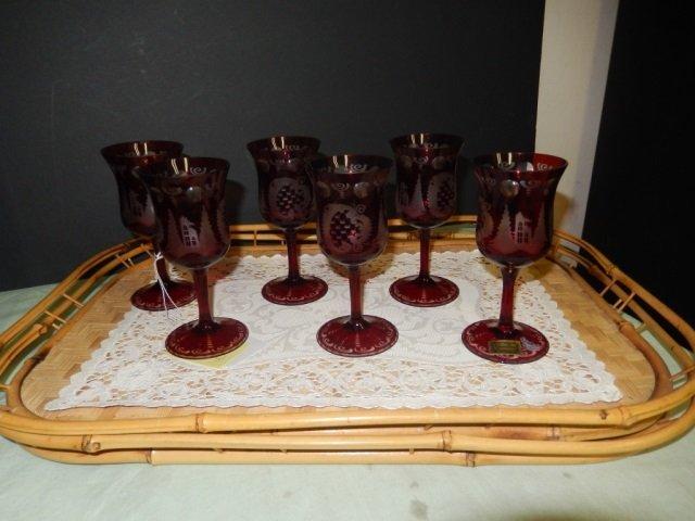 6 EGERMANN RED GLASSES LOT OF 6 EGERMANN RED GLASSES
