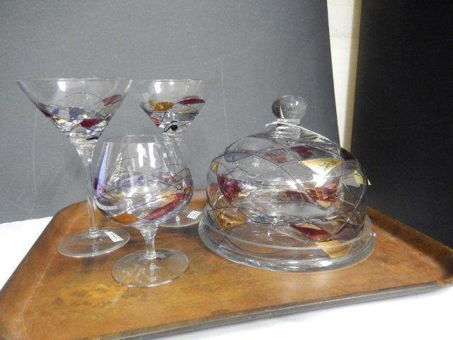 ROMANIAN GLASS PIECES LOT OF ROMANIAN GLASS INCLUDES 2