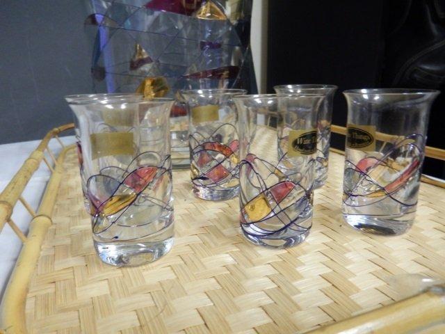 ROMANIAN COCKTAIL PIECES LOT OF ROMANIAN ART GLASS