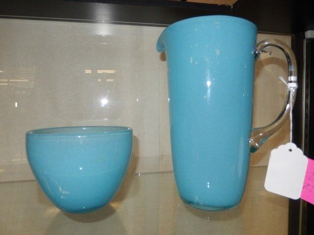 BLOWN GLASS PITCHER & BOWL RETRO STYLE. POWDER BLUE. NO