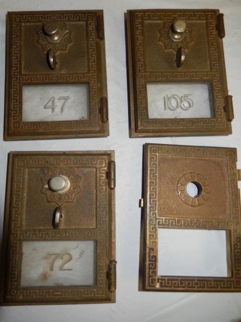 4 ANTIQUE POST OFFICE BOX DOORS LOT INCLUDES 4 ANTIQUE
