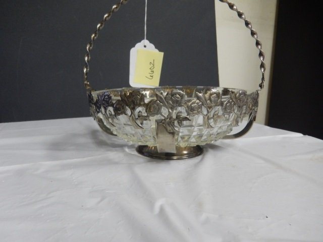 VINTAGE CANDY DISH CUT GLASS CANDY DISH WITH SILVER