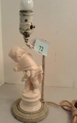 ANTIQUE CHERUB LAMP 1FT PAINTED WHITE METAL BASE &