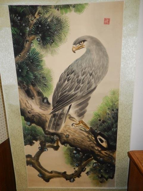 CHINESE SCROLL, DR. SIN YET SEN STAMP EAGLE ON PINE
