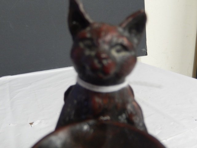 "WOOD CAT FIGURINE CAT WOOD CAT.APPROX 6"" TALL. FROM SAN"