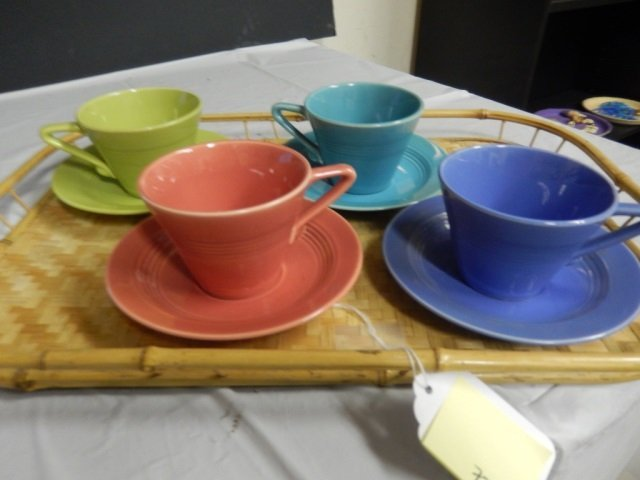 FIESTA LIKE CUPS AND SAUCERS LOT INCLUDES 4 TEA CUPS