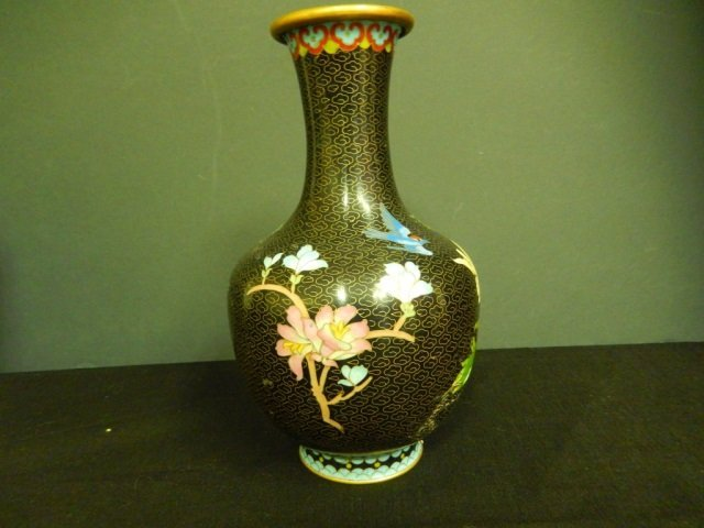 """CHINESE CLOISONNE FLOWER VASE 9"""" TALL IN GOOD"""