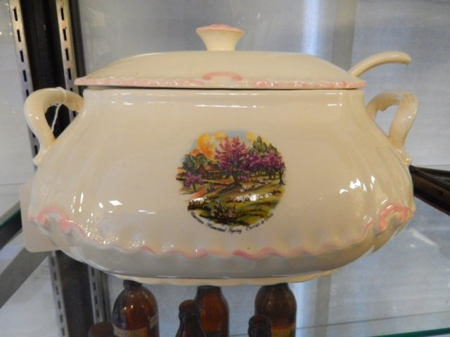 """CURRIER & IVES SOUP TUREEN """"AMERICAN HOMESTEAD SPRING"""""""
