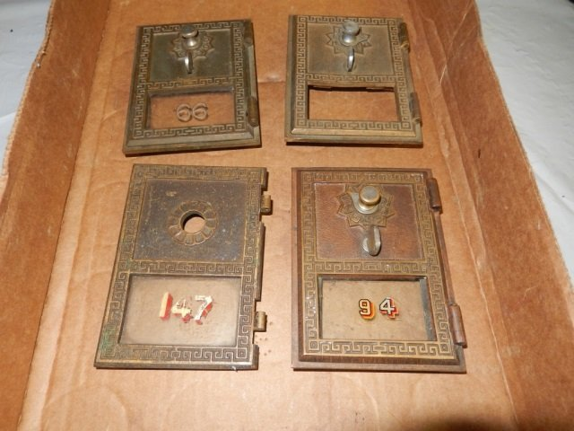 """4 ANTIQUE POST OFFICE BOX DOORS EACH IS APPROX 3.5"""" X"""
