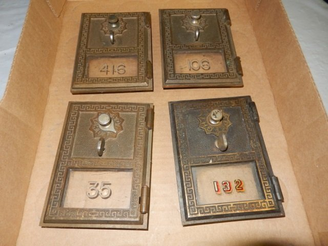 """4 ANTIQUE POST OFFICE DOORS EACH IS APPROX 3.5"""" X 5"""""""