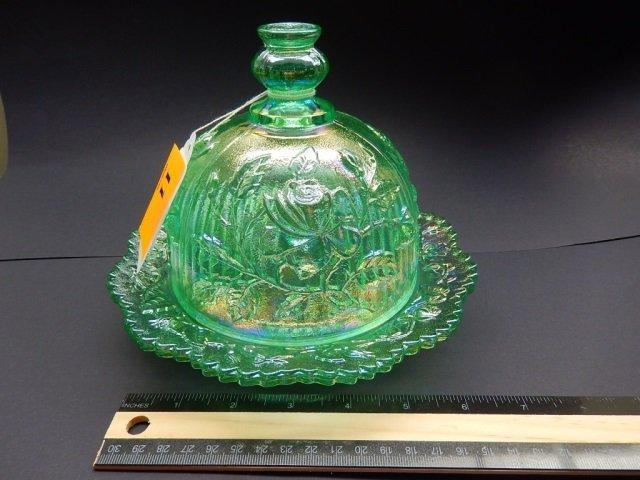 GREEN GLASS BUTTER DISH